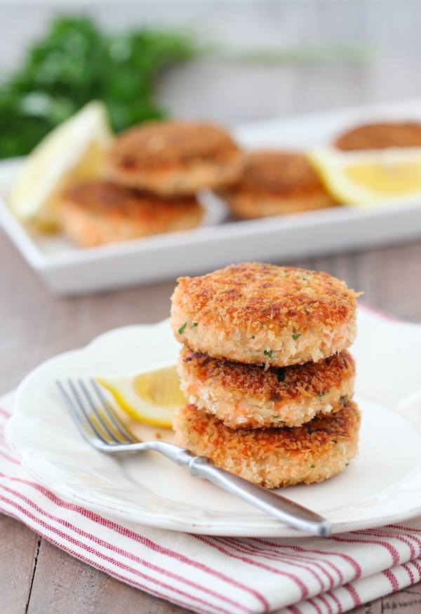 A stack of Salmon Patties on a plate