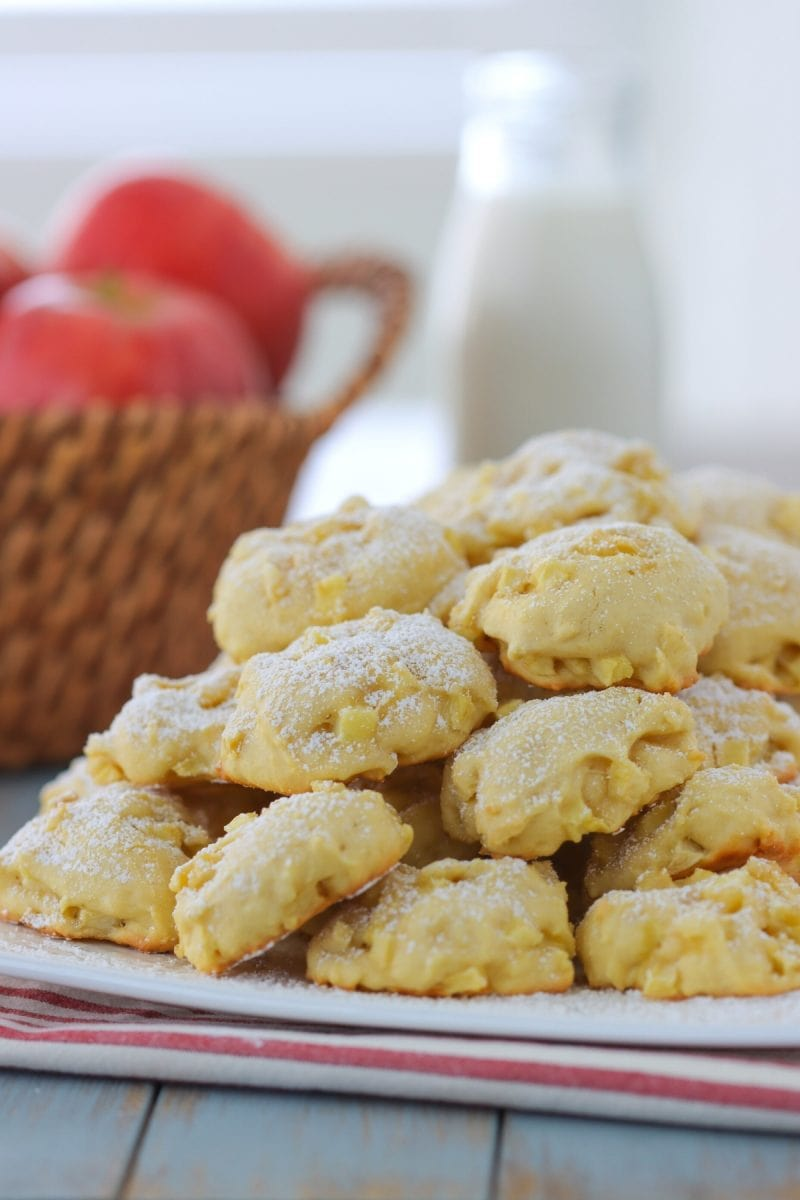 Apple Cookies - soft buttery cookies with apples and a dusting of powdered sugar.