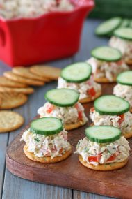 Creamy Chicken Salad Bites on Crackers