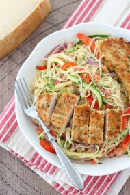 Chicken Scampi - angel hair pasta with zucchini, tomatoes, peppers, onion and breaded chicken tender