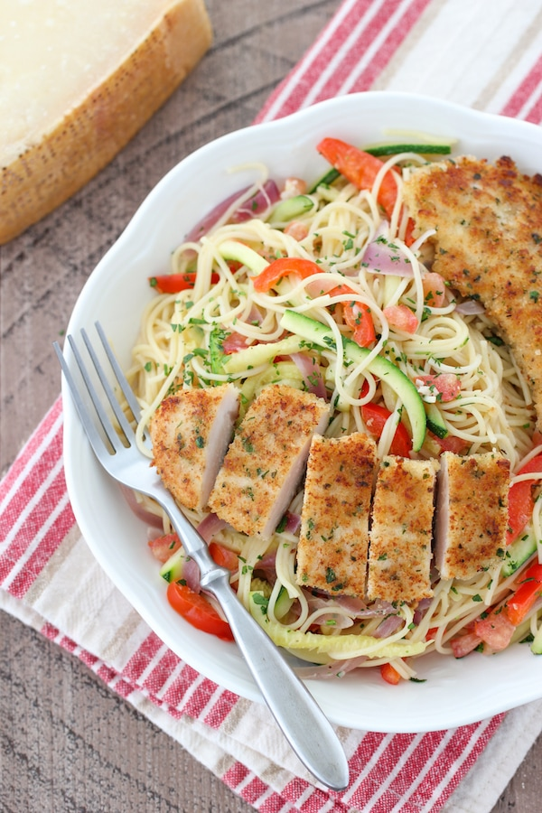 Breaded Chicken Scampi With Veggies