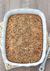 Banana Coffeecake with streusel pecan and cinnamon topping