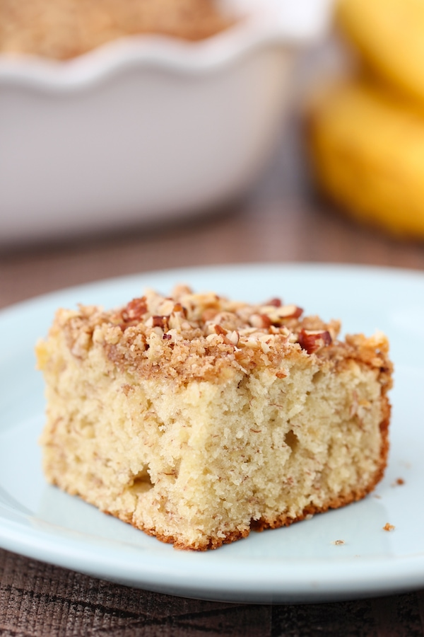 An easy recipe for tender and fluffy Banana Coffeecake with a pecan and cinnamon streusel topping