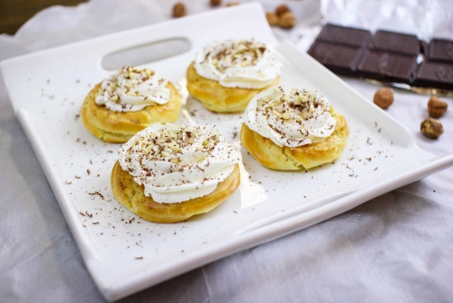 Cream Puff Pastries with chocolate and nuts (2)