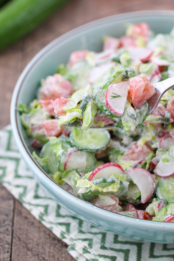 A bowl of sour cream salad with tomatoes, cucumbers, lettuce, radishes, dill and green onion.