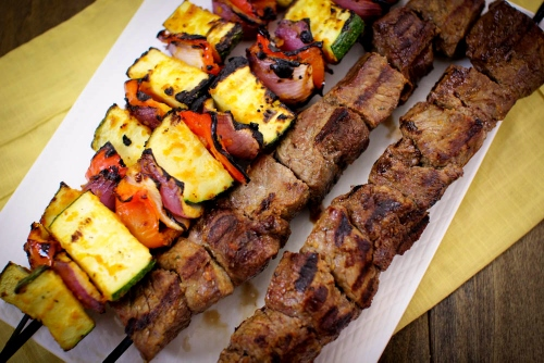 Grilled Beef and Veggie Kebabs