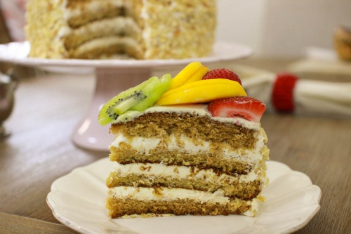 Fluffy Honey Layer Cake sliced