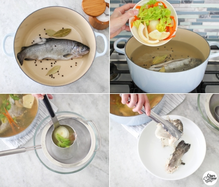 How to make fish broth step by step tutorial, using a whole fish, trout.