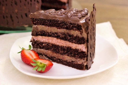 Slice of Chocolate Strawberry Layer Cake