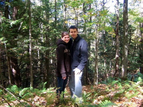 Sergi and I, hiking through the woods on my parents' property.