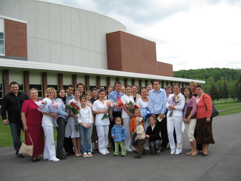 After the Pinning Ceremony at Nursing Graduation, with some of my classmates and our families.