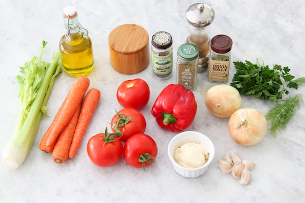 Vegetables to bake with fish - celery, carrot, tomatoes, bell pepper, onion, garlic and herbs