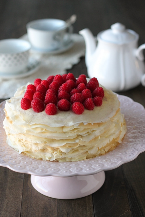 Crepe Cake With Pastry Cream and Raspberries-1-12