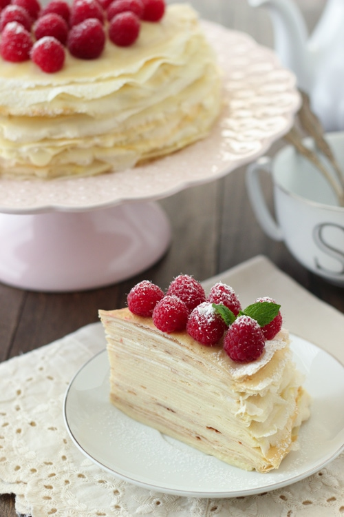 Crepe Cake With Pastry Cream And Raspberries Olga S Flavor Factory