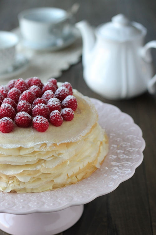 Crepe Cake With Pastry Cream and Raspberries-1-20