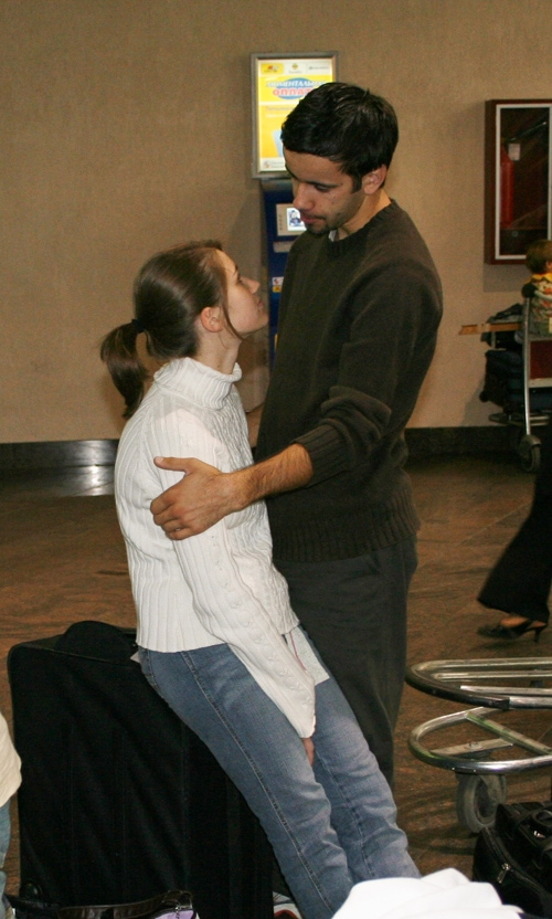 Someone snuck this photo of us, at the airport on our way to a mission trip in Russia. Yes, we were newly married:).