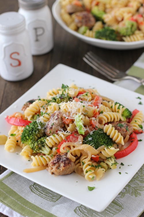 Sausage, Peppers and Broccoli With Pasta-1-9
