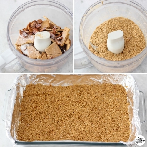 Tutorial for how to make a graham cracker crust for pumpkin cheesecake bars