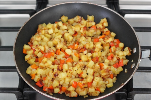 Potato, Onion and Pepper Hash With Oven Poached Eggs-1-25