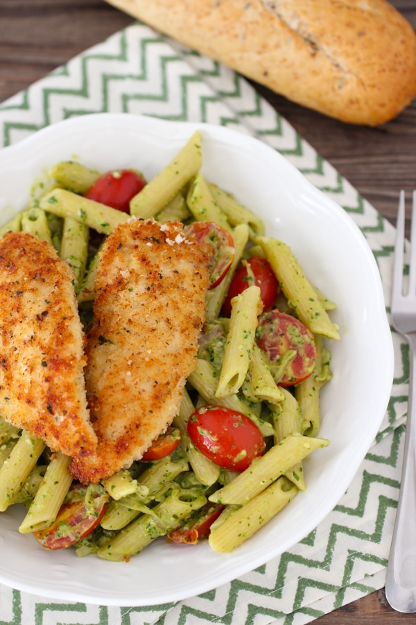 Pesto Pasta With Chicken Tenders Shallots And Cherry Tomatoes Olga S Flavor Factory