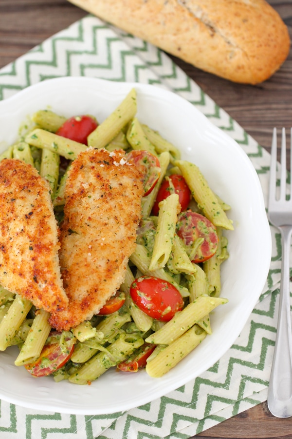 Pesto Pasta With Chicken Tenders, Shallots and Cherry Tomatoes-1-31