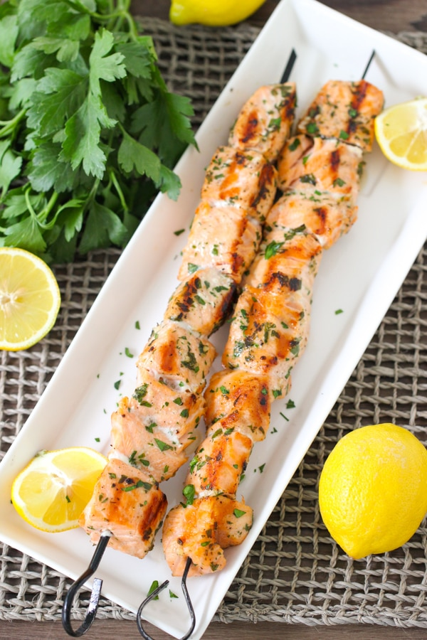 Grilled Lemon Garlic Salmon Kebabs-1-7