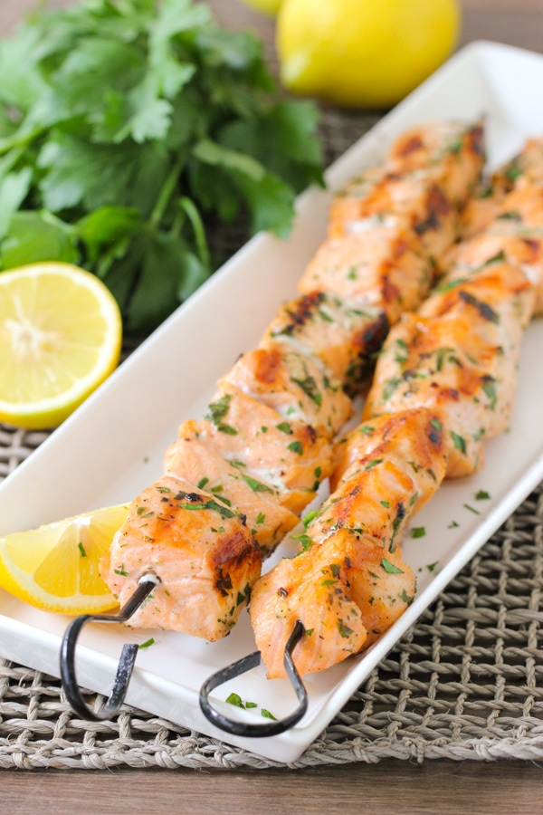 Grilled Lemon Garlic Salmon Kebabs-1-8