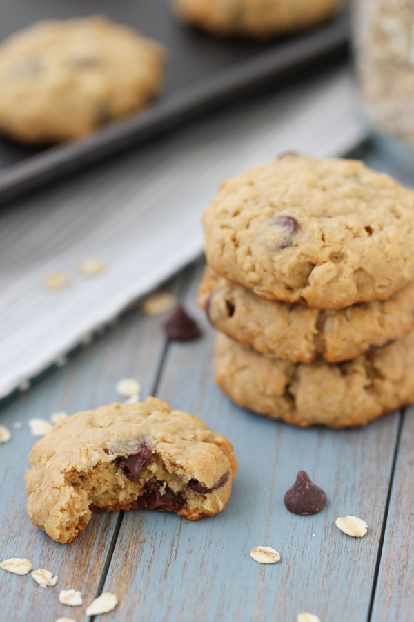 Peanut Butter and Oatmeal Chocolate Chip Cookies-17