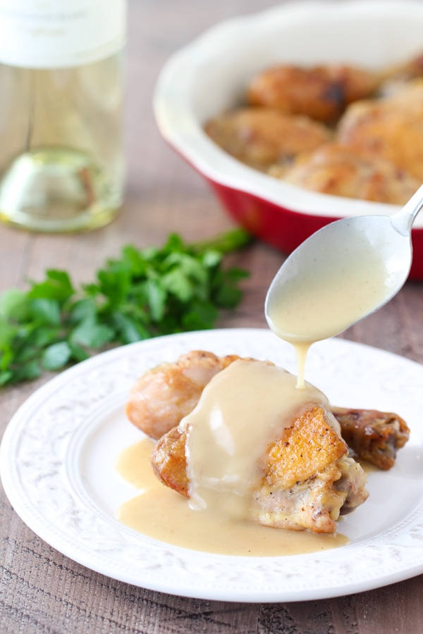 Braised Chicken With Creamy White Wine Sauce-14
