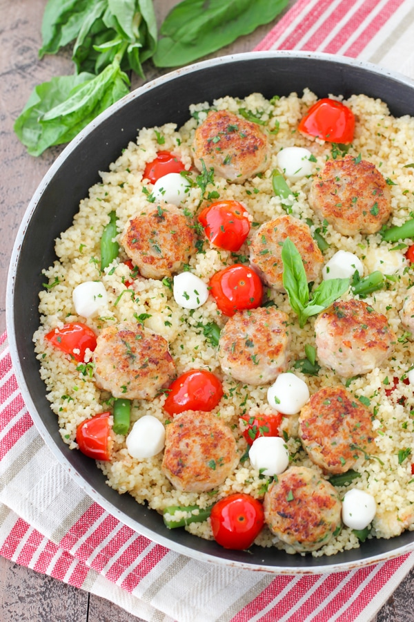 Chicken Meatballs With Caprese Couscous-16