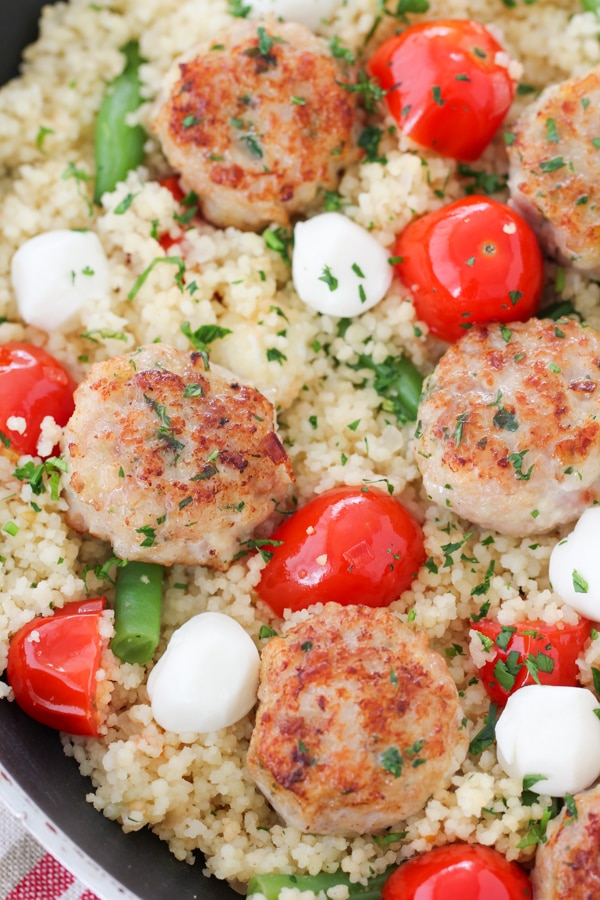 Chicken Meatballs With Caprese Couscous-17