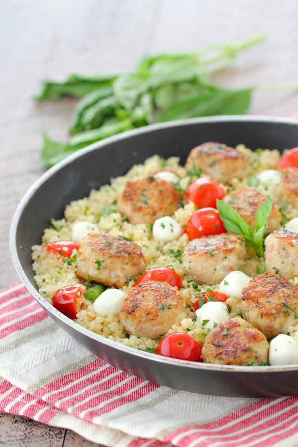 Chicken Meatballs With Caprese Couscous-18