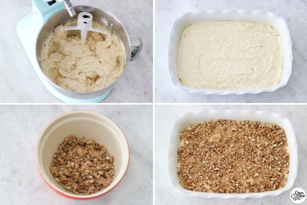 Banana Coffeecake - baking the cake with streusel topping