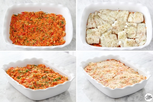 Assembling the fish and vegetables in a baking pan for the oven