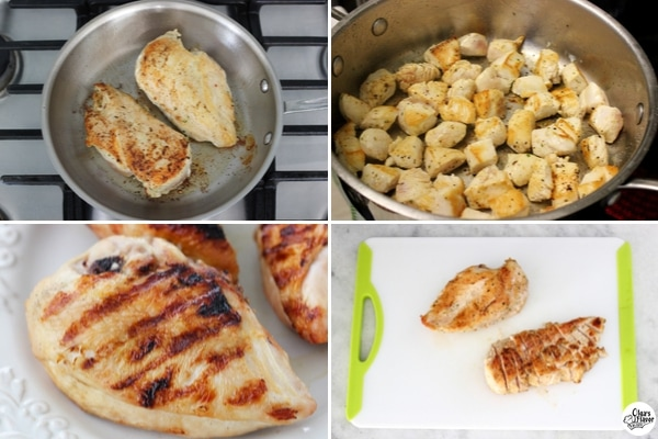 Cooking chicken for Pasta Alfredo