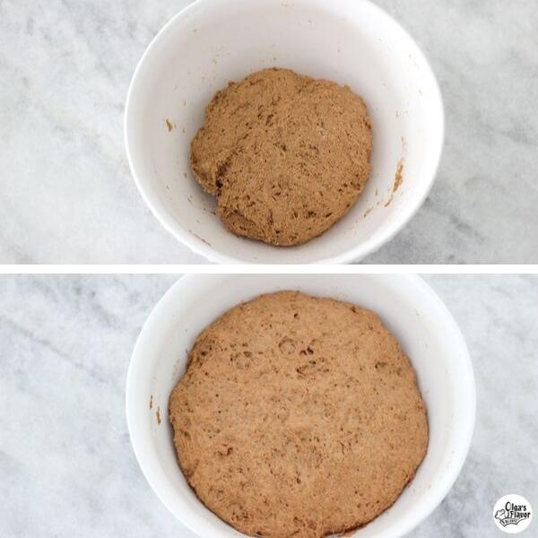 Pumpernickel bread rising in a bowl