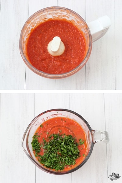 Pureeing roasted tomato sauce in food processor and adding fresh herbs
