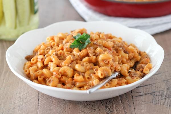 A bowl of homemade hamburger helper pasta or beef goulash pasta
