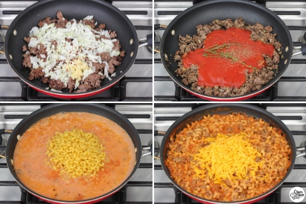 Skillet Cheeseburger Pasta Tutorial - step by step pictures cooking cheesy pasta and ground beef dinner