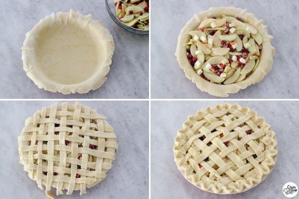 Assembling Apple Cranberry Pie with a lattice crust