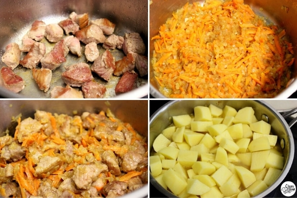 Tutorial photo of cooking braised potatoes with meat and vegetables.