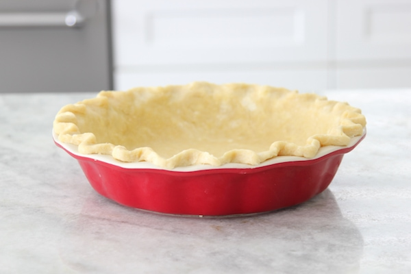 Pie crust in a deep dish pie plate