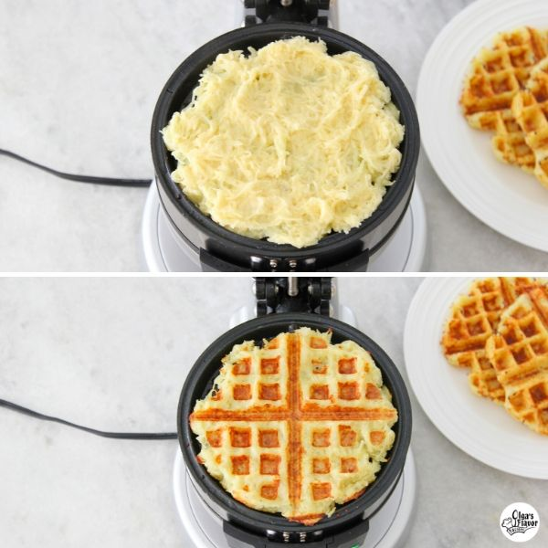 potato latke/ potato pancakes in waffle maker