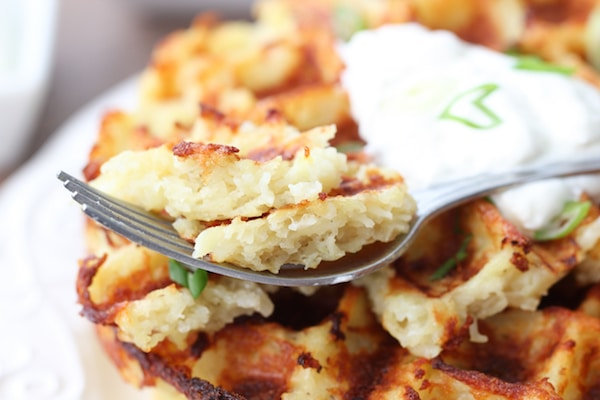 Close up shot of potato waffles