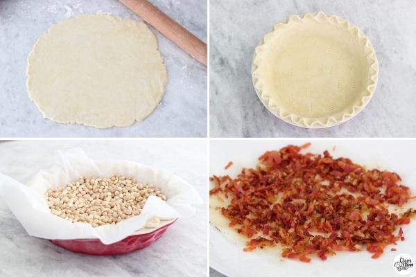 Preparing the pie dough, bacon and onions for Quiche Lorraine