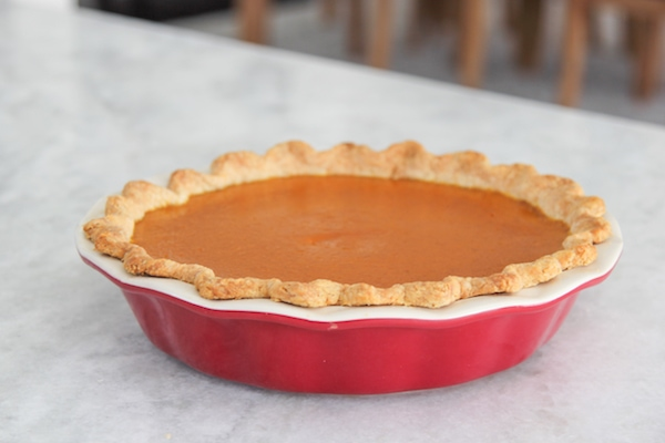 perfect pumpkin pie on the counter