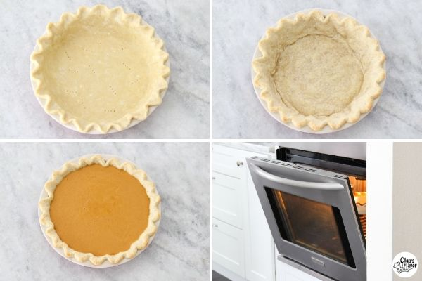 baking a pumpkin pie, blind baking the crust, how to prevent cracks in pumpkin pie