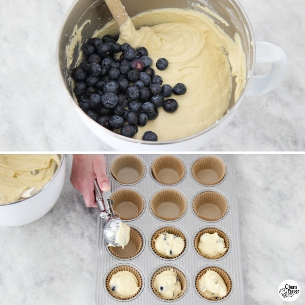 Adding blueberries to muffin batter and scooping out batter into muffin pan