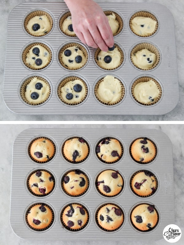 Blueberry Muffin batter in muffin pan