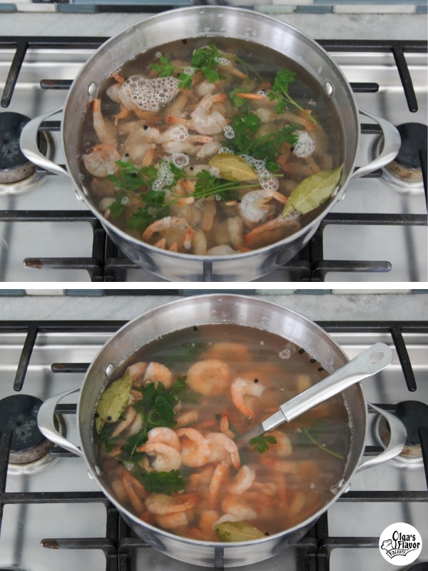 Cooking shrimp in a flavorful broth